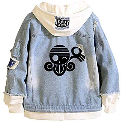 Bkckzzz Anime Personalizado Edgy Art Luffy Zoro Chaqueta de Mezclilla con Capucha Unisex Cosplay Button Trucker Jeans Coat @ XXX-Large (Asian_Size) _Blue-9