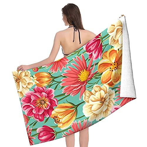 Toallas de baño Flowers Floral Spring Bright Flowers Manta de Playa de Microfibra Toalla de Yoga de Secado rápido Suave Adecuada para Adultos