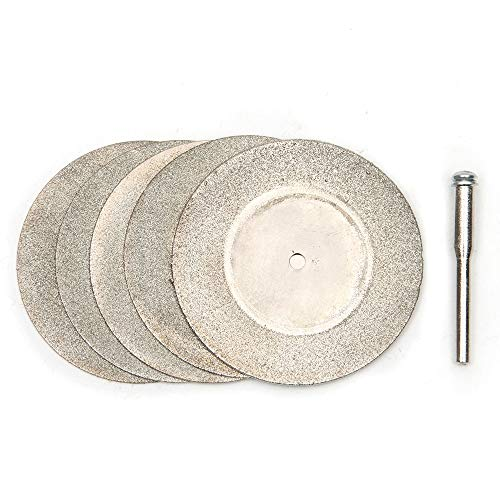 ABST01691 Abrasive 5Pcs 50mm Diamond Cutting Discs & Drill Bit for Rotary Tool for Dremel Stone Blade