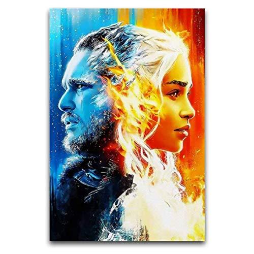 WPQL Póster de la serie de televisión de Games of Thrones lienzo de impresión de imagen, moderno póster de decoración de dormitorio familiar para niños, 50 x 75 cm