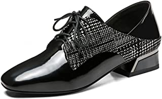 Judy Bacon Women's Square Toe Oxford Shoes Plaid Genuine Leather Lace Up Low Heel Dress Oxfords Loafer Shoes