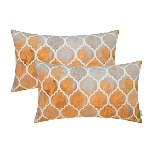 CaliTime Cushion Covers 2 Pack 30cm x 50cm Main Grey Orange Manual Hand Painted Colorful Geometric Trellis Chain Print Throw Pillow Cases