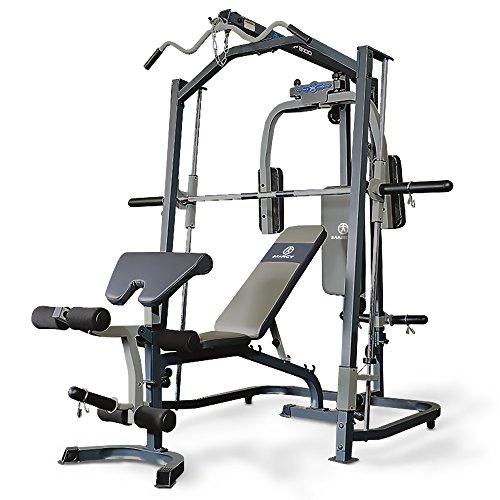 Marcy Smith machine MP3100, Rack de musculación multifunción, Sentadillas con Peso Guiado, Polea alta y baja, Pec Dec, Barra EZ, Banco de musculación completo e independiente