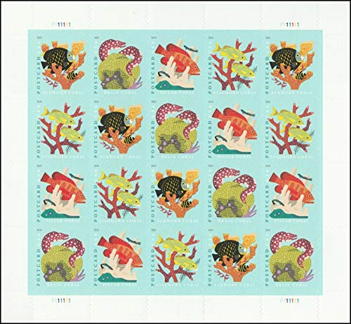 2019 Coral Reefs Postcard Rate Forever Sheet of Twenty Stamps Scott 5366