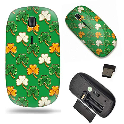 S-Type Optical 2.4G Wireless Mouse with Nano Receiver - Shamrocks Clover in Irish Flag Color for St. Patrick's Day
