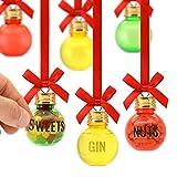 Eat, Drink And be Merry Christmas Xmas Set di 6 Palline di 50 ml con Lettera Adesivi per Personalizzare Gift Set da Decorare con Dolci Noci Booze Gin Vodka Whisky Rum Decorazioni riempibile