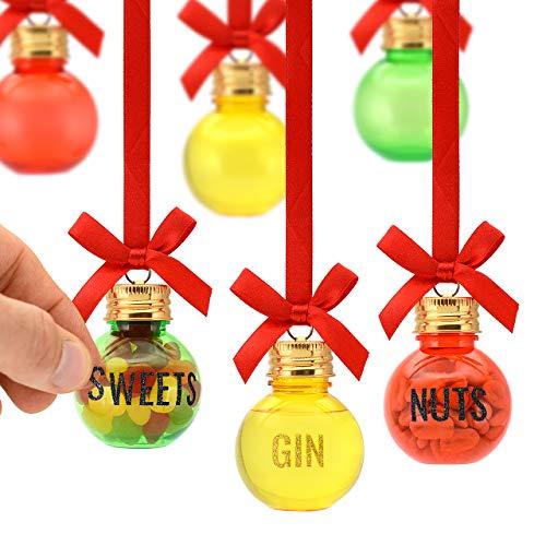 Weihnachtskugeln zum Befüllen, 6 Stück à 50ml – inkl. Buchstaben-Aufkleber zum Personalisieren – für Flüssigkeiten und Feststoffe