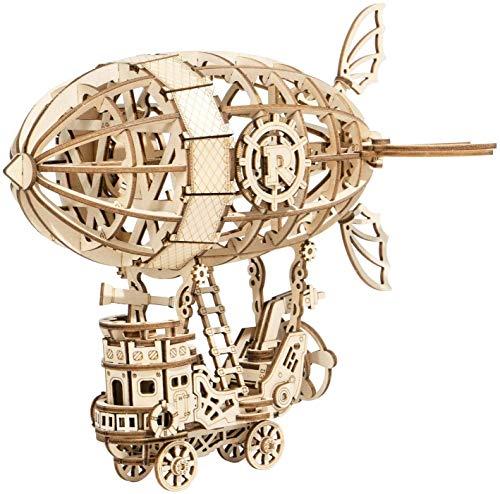 ROKR 3D立体パズル 木製パズル レーザーカット ギア ミニチュア 機械式モデル組み立てキット モデル 誕生日 大人 新年 ギフト クリスマス プレゼント(飛行船) TG407