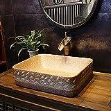 ZLXLX Lavandino Lavandino Lavandino Lavabo Rettangolare Lavabo Antipastiera Retrò Hotel Lavabo Bagno In Ceramica