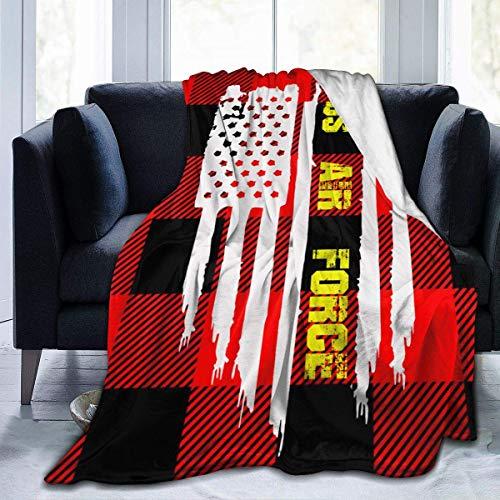 shenguang American Flag Air Force Veteran Hotel Throw Blanket Ultra-Soft Micro Fleece Blanket Plush Fuzzy Warm Bed Blanket Living Room