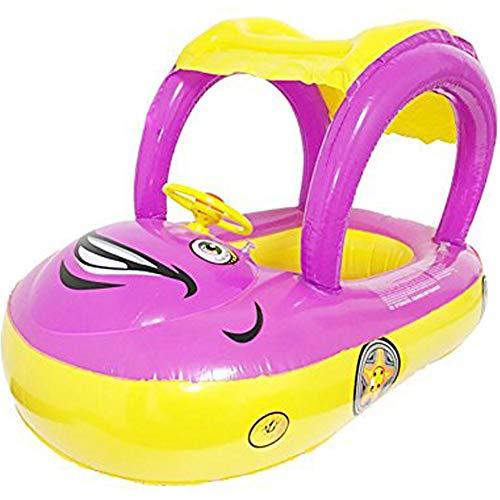 Umora 浮き輪 赤ちゃん 子供 ボート型 ハンドル付 日よけ付 (紫)