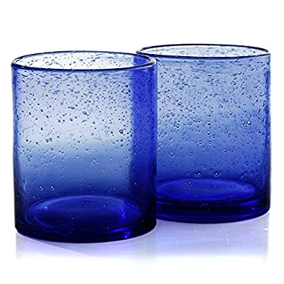 Artland Iris Seeded Cobalt 14 Ounce Double Old Fashioned Glass, Set of 6