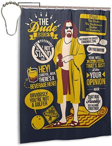 ngquzhe Zuverlässige Duschvorhänge The Dude Quotes Duschvorhang-Set aus wasserdichtem Gewebe mit 12 Haken (55 x 72 Zoll)