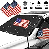 Big Ant Windshield Snow Cover, American Flag Car Snow Cover with Side Mirror Covers - Frost Guard Winter Windshield Snow Ice Cover Protector for Most Cars SUVs Vans