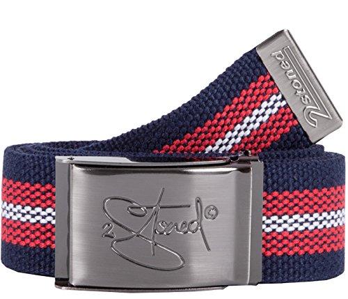 2Stoned Gürtel Canvas Belt Navy-Rot-Weiß, matte Schnalle Classic, 4 cm breit, Stoffgürtel für Damen und Herren