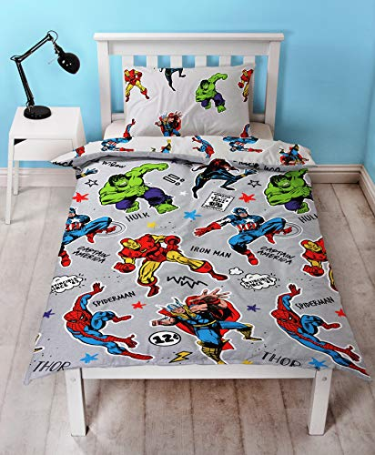 Marvel Comics Single Duvet Cover – Spiderman, Captain America, Hulk, Thor, Iron Man & Black Widow Reversible Bedding Set (Grey)