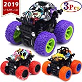 Monster Trucks Toys for Boys - Friction Powered 3-Pack Mini Push and Go Car Truck Jam Playset for...