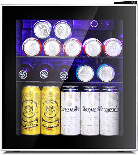 Antarctic Star Mini Fridge Cooler - 60 Can Beverage Refrigerator Glass Door for Beer Soda or Wine – Glass Door Small Drink Dispenser Machine Clear Front Removable for Home, Office or Bar, 1.6cu.ft.