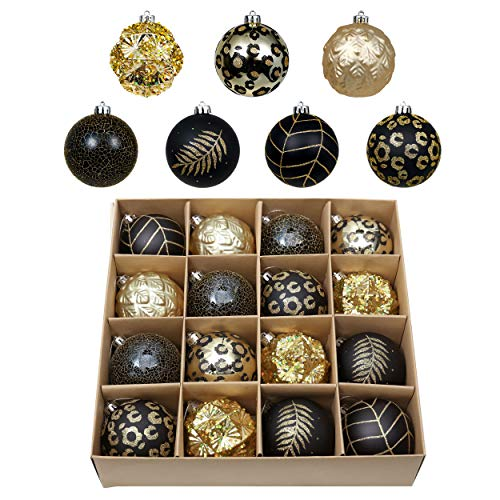 Valery Madelyn 16ct 80mm Halloween Christmas Ball Ornaments, Shatterproof Large Ornaments Balls for Halloween Christmas Tree Decoration Party Decor, Golden Tropical Party Black and Gold