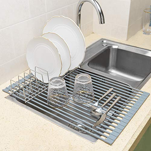 iPEGTOP X-Large 20.5' Roll-Up Dish Drying Rack Over The Sink Dishes Pan Drying Rack - Multipurpose Dish Drainer with Lid Plates Holder - Durable Silicone Covered Stainless Steel
