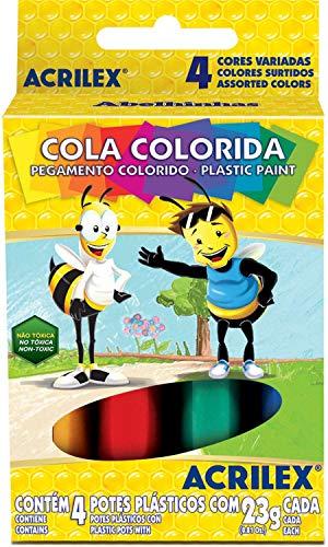 Cola Colorida Estojo com 4 Cores, Acrilex 026040000, Multicor, 23 g, Pacote de 12