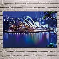 シドニーオペラハウスオーストラリアの都市の夜の建物リビングルーム寝室家の壁アートモダンな装飾ポスター50x75cm(19.7x29.5インチ)フレームなし