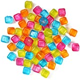 (60-Pack) Reusable Ice Cubes, Plastic Squares for Drinks Like Whiskey, Wine or Beer, To Keep Your Drink Cold Longer. Filled With Pure Water. Comes In Assorted Colors