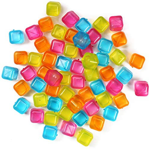 (60-Pack) Reusable Ice Cubes, Plastic Squares for Drinks Like Whiskey, Wine or Beer, To Keep Your Drink Cold Longer. Filled With Pure Water. Comes In Assorted Colors.