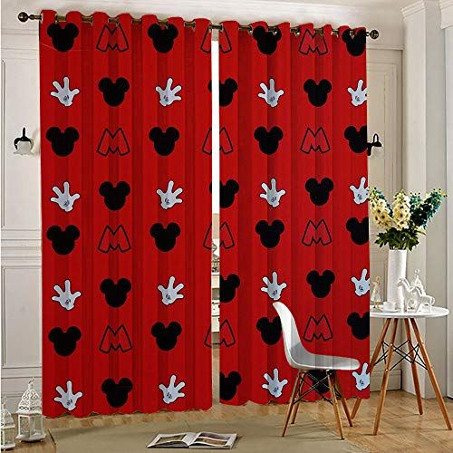 Mickey Minnie Mouse Thermal Insulated Curtains All Season Insulation Energy Efficient Grommet Curtain Panel 140cmx250cm x 2 pcs
