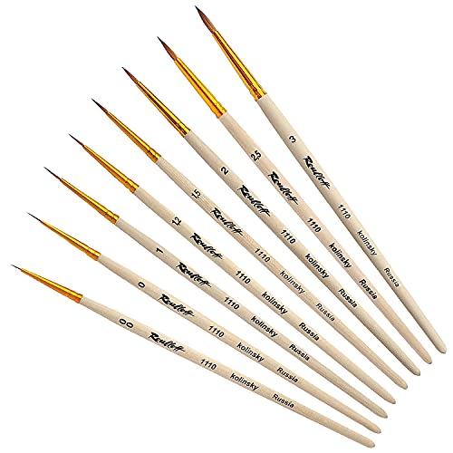 Profi Kolinsky Rotmarder Pinselset Malen Fein | 8 x Sable Brush von Roubloff | Größe: 00 / 0 / 1 / 1,2 / 1,5 / 2 / 2,5 / 3