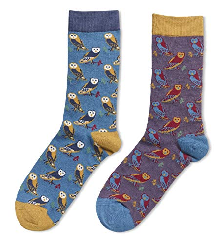 LilyRosa Owl Socks Ladies Purple Teal Owls Bird Womens Girls Size 4 to 7 Bamboo (Pack of 2)