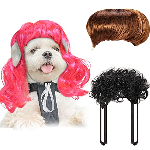 3 Pieces Pet Wigs Cats and Dogs Halloween Wigs Funny Cosplay Pet Headdress Pet Costumes Red Big Wave Wig with Adjustable Elastic Band Funny Dog Wig Accessories for Small Medium Large Pets Halloween