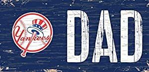 """New York Yankees Team Logo and """"Dad"""" 6X12 Wood sign Package Dimensions : 7.0 inches X 13.0 inches X 0.5 inches"""