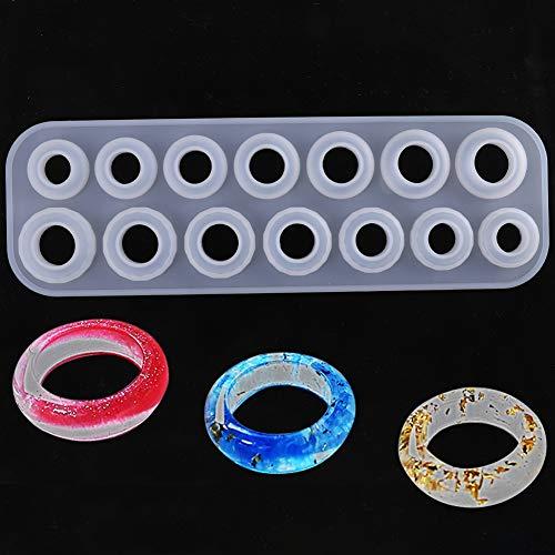 Xinzistar - Molde de resina para joyas, anillo redondo, molde de resina epoxi transparente, molde de resina para manualidades, collares, pendientes y pulseras