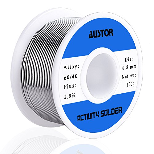 AUSTOR 60-40 Tin Lead Rosin Core Solder Wire for Electrical Soldering (100g, 0.8mm)