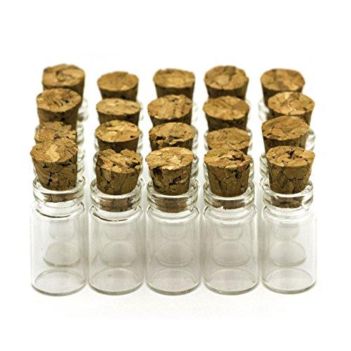 RUBY - 40 Botellas de deseo 11mm x 22mm, mini botellas de cristal con tapones de corcho, mensaje, deseo de fiesta de bodas. (40 unids.)