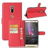 MINGYOUNG Funda para Lenovo PHAB 2 Plus(PB2-670N) Flip Cover Cuero Billetera Carcasa Card Slot Kickstand Magnética Case para Lenovo PHAB 2 Plus(PB2-670N) (Rojo)