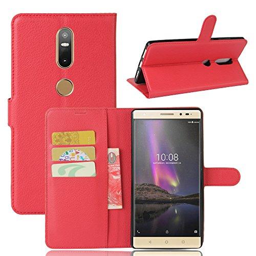 Qiaogle Teléfono Case - Funda de PU Cuero Billetera Clamshell Carcasa Cover para Lenovo Phab 2 Plus (6.4 Pulgadas) - FC04 / Rojo Estilo