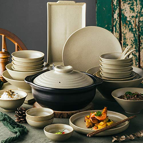 Juegos De Vajillas De Porcelana, vajilla de gres retro de 57   Juego de tazn de cereal y plato de carne de porcelana gris oxidada para regalos de boda