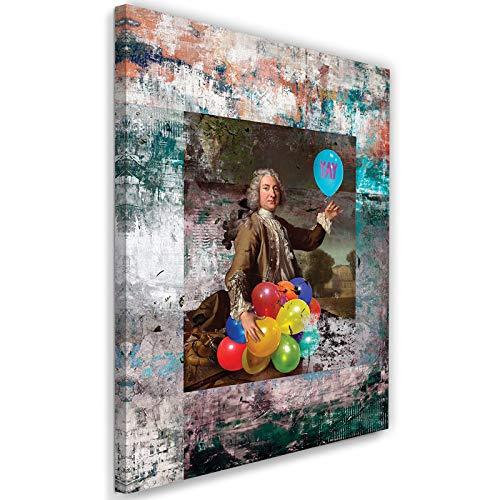 carowall CAROWALL.COM Leinwandbild Barock Rokoko Bild Kunstdruck Blau 40x60 cm