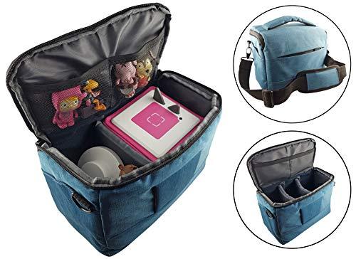 Transporttasche für Kinder Musikboxen Musikwürfel - mit Schultergurt - z.B. geeignet für Toniebox und Tigerbox - BLAU - Transport Tasche Reisetasche Box Koffer Case Aufbewahrung - MIND CARE ESSENTIALS