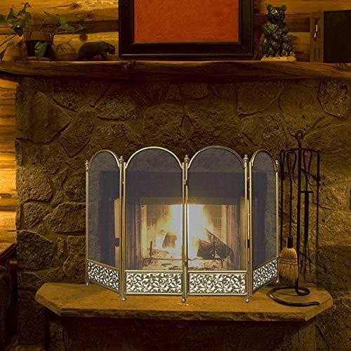 JLXJ Pantalla Chimenea Pantallas Plegables de Chimenea, 4 Paneles de Hierro Forjado Fire Guarder Guard Cerca, para Accesorios de Estufa de Leña, Grandes, 120 × 80cm (47 × 31 Pulgadas) (Color : Gold)