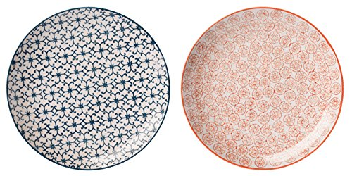 Bloomingville Teller Kristina 2er Set saphirblau/orange