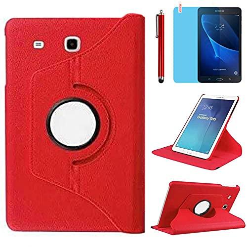 Funda para Samsung Galaxy Tab A 7.0 Inch 2016 Casos Modelo SM-T280 SM-T285,360 Rotación Soporte Protección Cubrir,Tener bolígrafo,Película (Red)