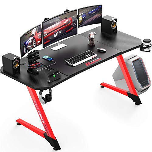 Vitesse 55 Inch Ergonomic Gaming Desk, Z-Shaped Office PC Computer Desk with Large Mouse Pad, Gamer Tables Pro with USB Gaming Handle Rack, Stand Cup Holder&Headphone Hook (Red, 55 inch)