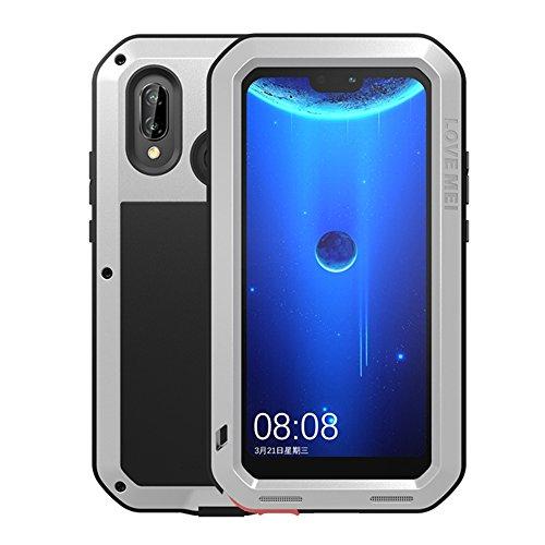 HICASER Huawei P20 Lite Custodia Impermeabile Waterproof, Antipolvere, Anti Neve, Antiurto Protettiva Resistente all'Acqua Cover per Huawei P20 Lite Metallo, Lega di Alluminio Case Argento