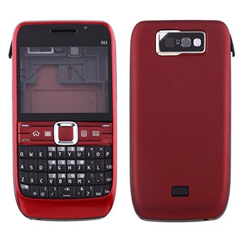 De behuizing van de volledige afdekking Nizza (front cover + medium frame Bezel + batterij-terugdekking + toetsenbord) voor de Nokia E63 (zwart) Moonbaby Rood