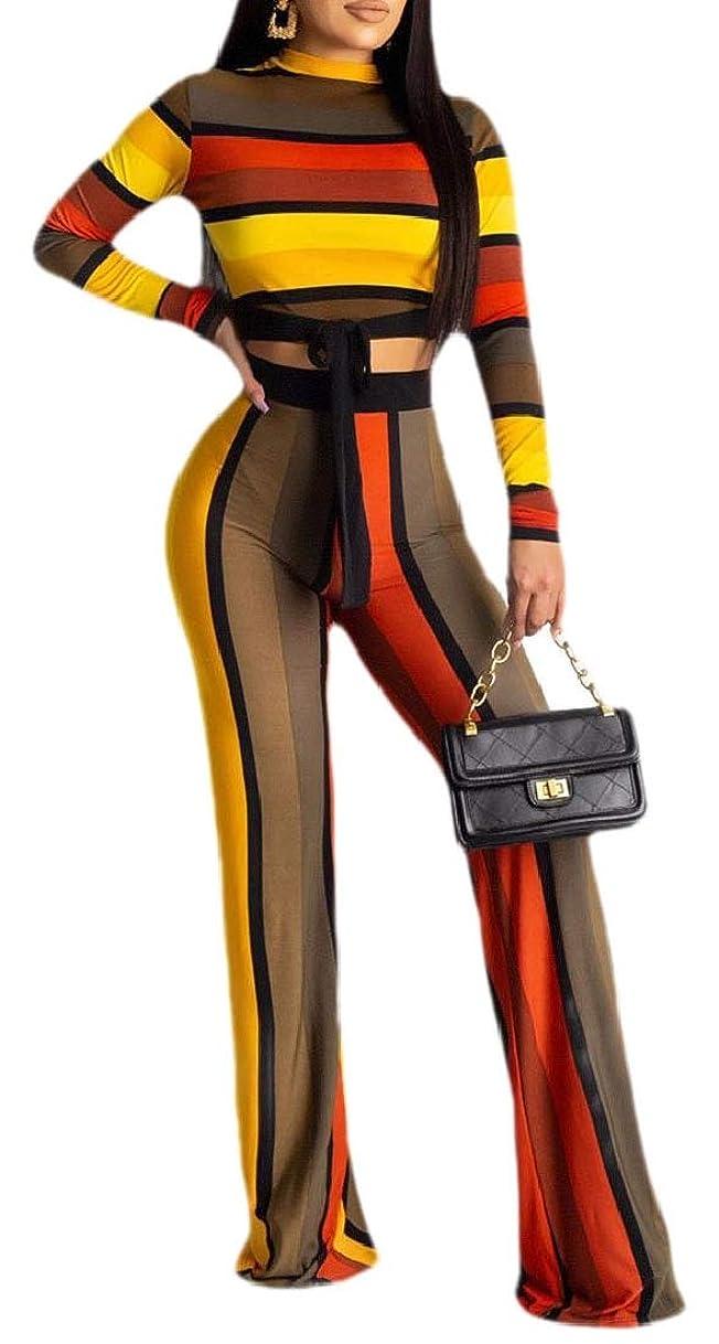 体細胞ミルク発症女性の長袖ストライププリント2ピース衣装トップスとパンツの衣装