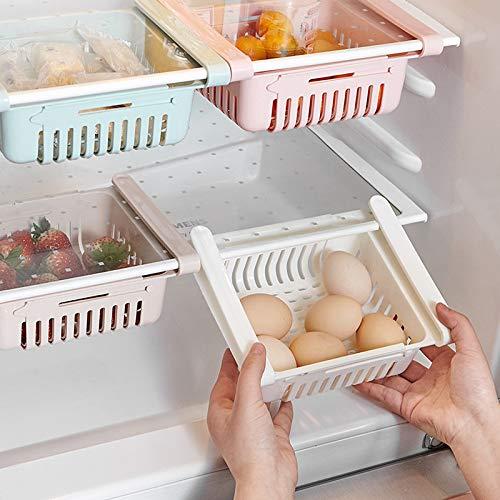 TyTy Caja de almacenamiento retráctil ajustable para frigorífico, cajón, cajón de refrigerador, compartimento fresco (color: azul)