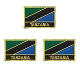 3 Stück Tansania bestickte Flaggen-Emblem-Applikation zum Aufbügeln oder Aufnähen.